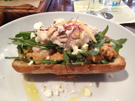East coast crab bruschetta, with scotch bonnet chilli, horseradish and preserved lemon.
