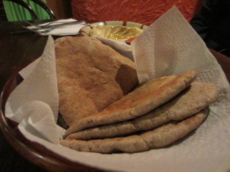 Warm pitta bread.