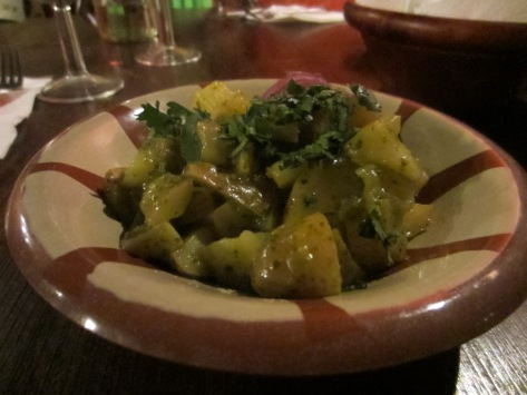 Batata hara - potatoes cooked in lime, chilli and a coriander sauce.