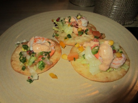 Tostados with spicy king prawn, chipotle and lime sour cream.