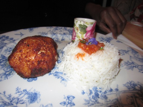 Chicken kiev with basmati rice.
