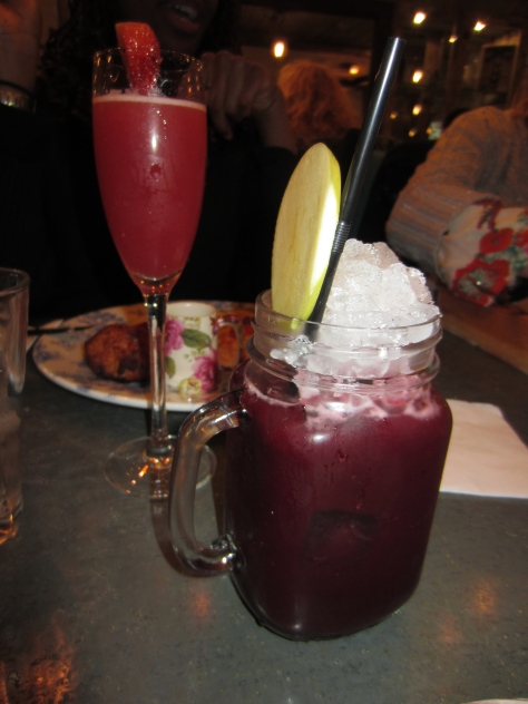 Forest Fruit Fling - blackberry, raspberry and blueberry purees, apple juice, cranberry juice and lemon juice.