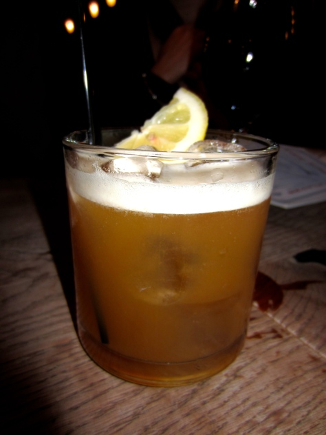 Four Roses Bourbon, Diplomatico Anejo Rum, Orange Liqueur, lemon and honey topped with Yorkshire tea.