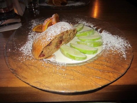 Apple strudel with almonds, nuts and caramelised apple slices.