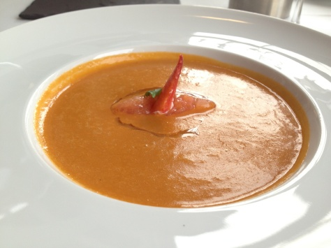 Lobster bisque with confit tomato