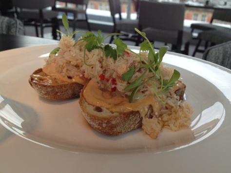 Bridlington crab on toast, mayonnaise.