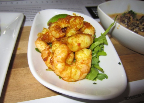 Shelled prawns cooked with garlic and chilli