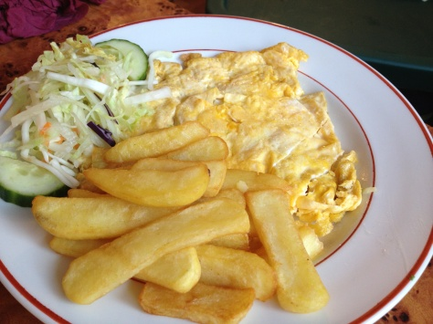 Plain omelette with chips and salad