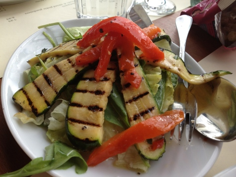 Chargrilled zucchini and red pepper salad