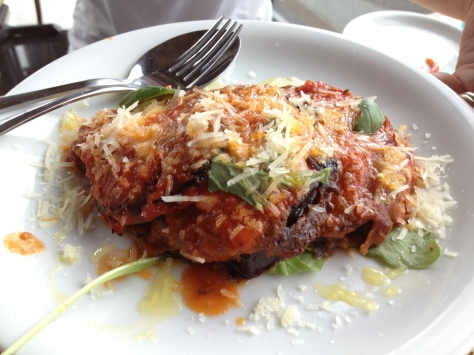 Baked melanzane with pecorino