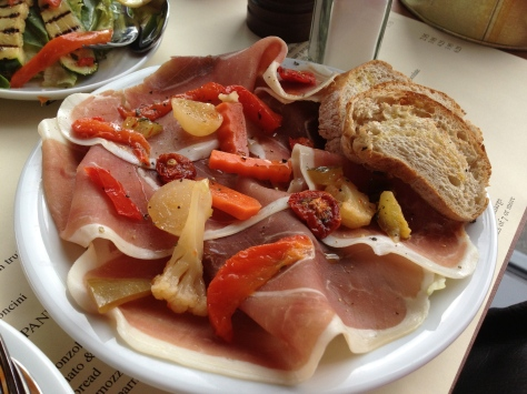 Prosciutto crudo and mixed pickle giardiniera
