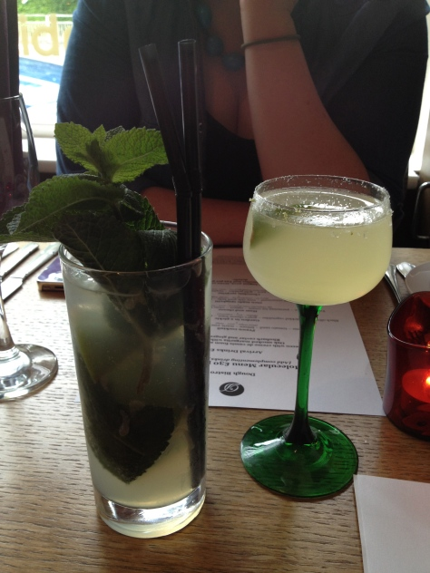 Our arrival drinks - Rhubarb caviar and ginger mojito and Oak smoked margarita with lime salt