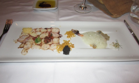 Laminated octopus, with sea shore flavours