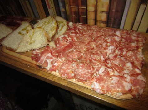 Leeds charcuterie board - Coppa, Fennel Salami, Chilli and Black Pepper Salami with bread and cornichons