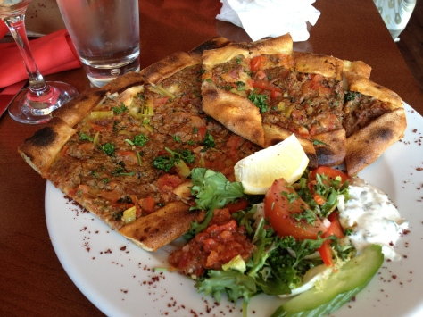 Minced Pide - lamb, with onions, peppers, parsley and Turkish herbs