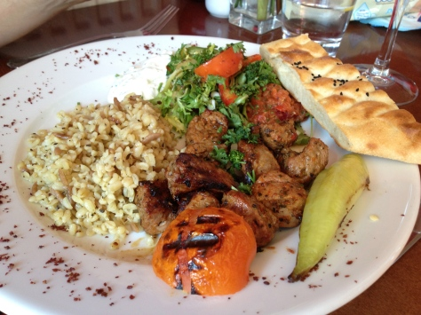 Lamb skewers - grilled marinated lamb with rice, salad and homemade bread