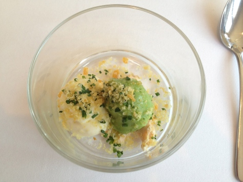 Pea sorbet with chilled potato mousse and hot smoked salmon