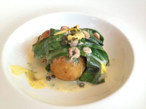 Salt cod croquettes with sea spinach, brown shrimp, caper butter and cauliflower puree
