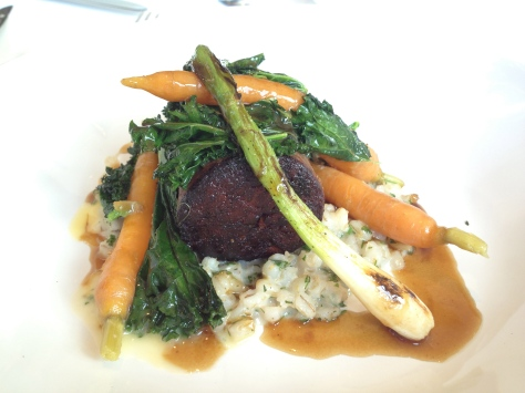 Braised shin of Longhorn beed with barley risotto, carrots and spring onions