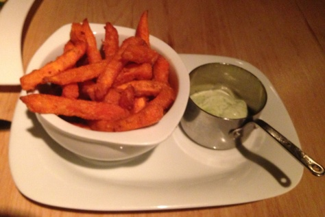 Sweet potato fries with coriander yoghurt