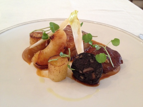 Wiltshire pork belly, spiced cheek, fondant potato, roast apple, black pudding and apricot puree