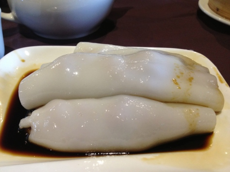 Beef cheung fun - rice rolls filled with beef