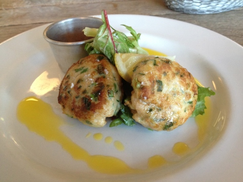 Crab and cod cakes with smoked chilli jam