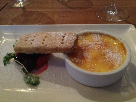 Creme brûlée with mixed berries and shortbread