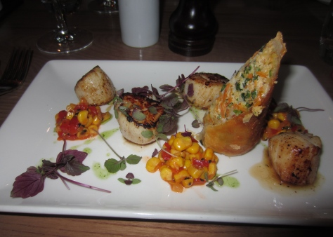 Pan fired King scallops, crab, carrot and ginger spring roll, sweet corn and red pepper relish