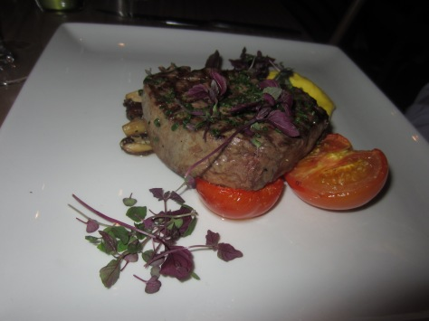 Chargrilled 28 aged 'Bolster Moor Farm' fillet steak, sautéed woodland mushrooms, roasted tomato and triple cooked chips