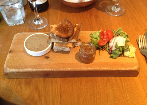 handmade chicken liver pate' served with crostini & caramelized shallots