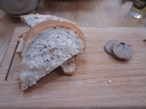 Granary bread and black garlic and mushroom butter