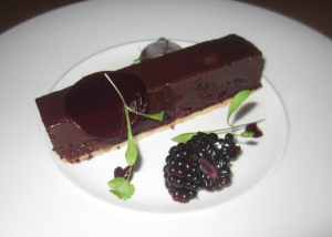 Dark chocolate and blackberry tart, banana choc ice and blackberry drops