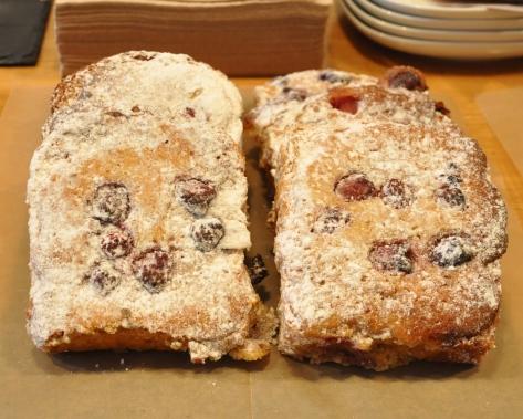 Brioche slice with raspberry and almond