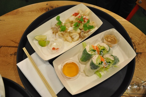 Mực chiên giòn - tender fried baby squid with a salt, pepper & lime dip and Gỏi cuốn - fresh rice paper summer rolls with herbs, chicken vermicelli & pickle