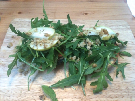 Blue cheese, pear, walnut and rocket bagel