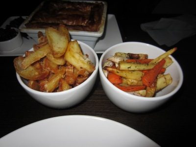 Triple cooked chips and honey glazed root vegetable