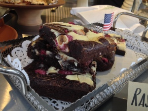 Raspberry white chocolate brownie