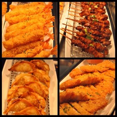 Fried prawn katsu, chicken yakitori, chicken gyoza and chicken katsu