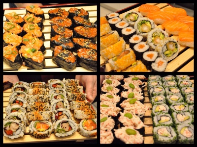Salmon sesame and spicy salmon gunkan, salmon hosomaki and nigiri,spicy salmon futomaki and chicken teriyaki futomaki, surimi crab gunkan and suri crab and avocado hosomaki