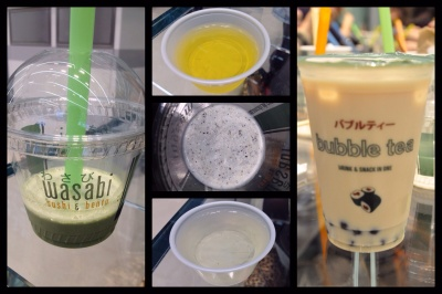 Matcha milk tea, mango aloe water, sesame milkshake and Bubble Tea