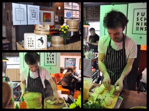 Ben at the Fu-Schickens street food stand serving Taiwanese Guo Bao!!
