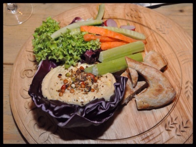 Houmous board with crudités and flatbread