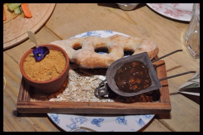 Chicken liver pate and plum and apple chutney