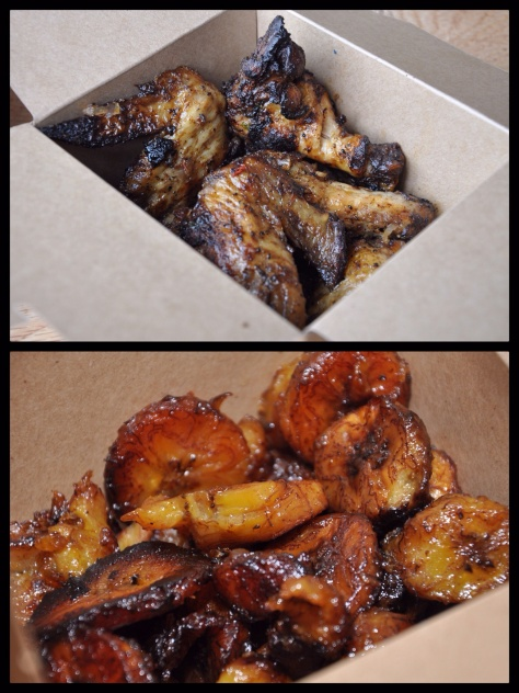 BBQ Chicken Wings and Fried Plantain