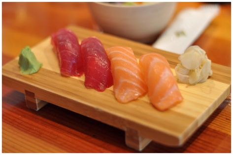 Tuna and Salmon nigiri