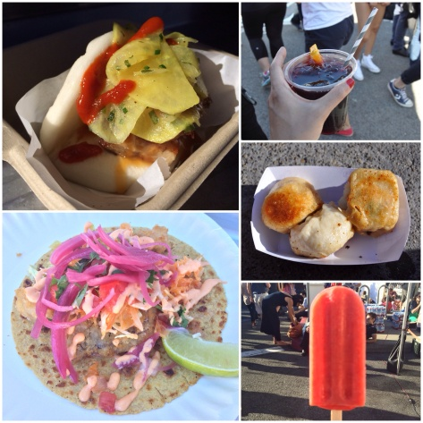 Pork belly Gua Bao, Maui Fish Taco, Sangria, Pork and Chive Dumplings, Strawberry and Lemonade Popsicle