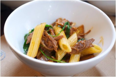 Spiced pork, roasted balsamic onions & penne pasta