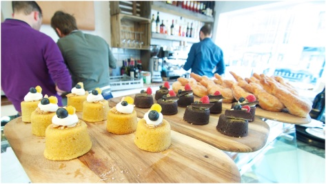 Desserts- Amalfi lemon polenta cake, Chocolate torte di caprese and Zeppole