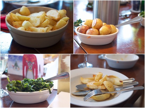 Sides - garlic & rosemary roast nre potatoes, greens